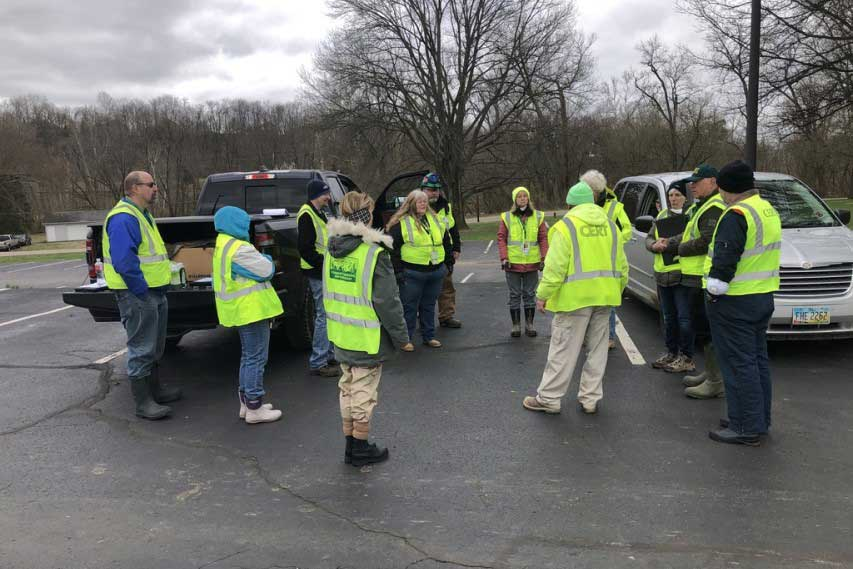 CERT members gather for a briefing.
